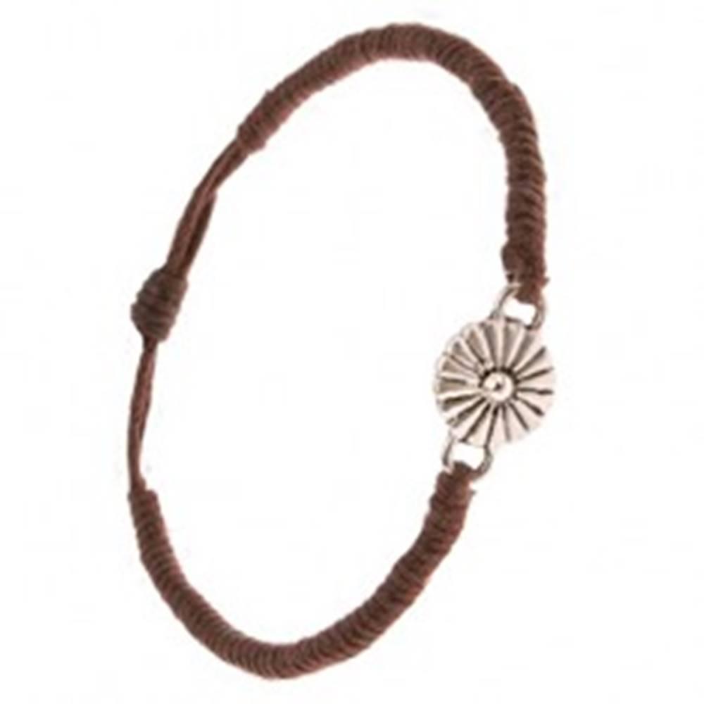 Šperky eshop Náramok zo šnúrok - čokoládovohnedý, husto spletený, margarétka
