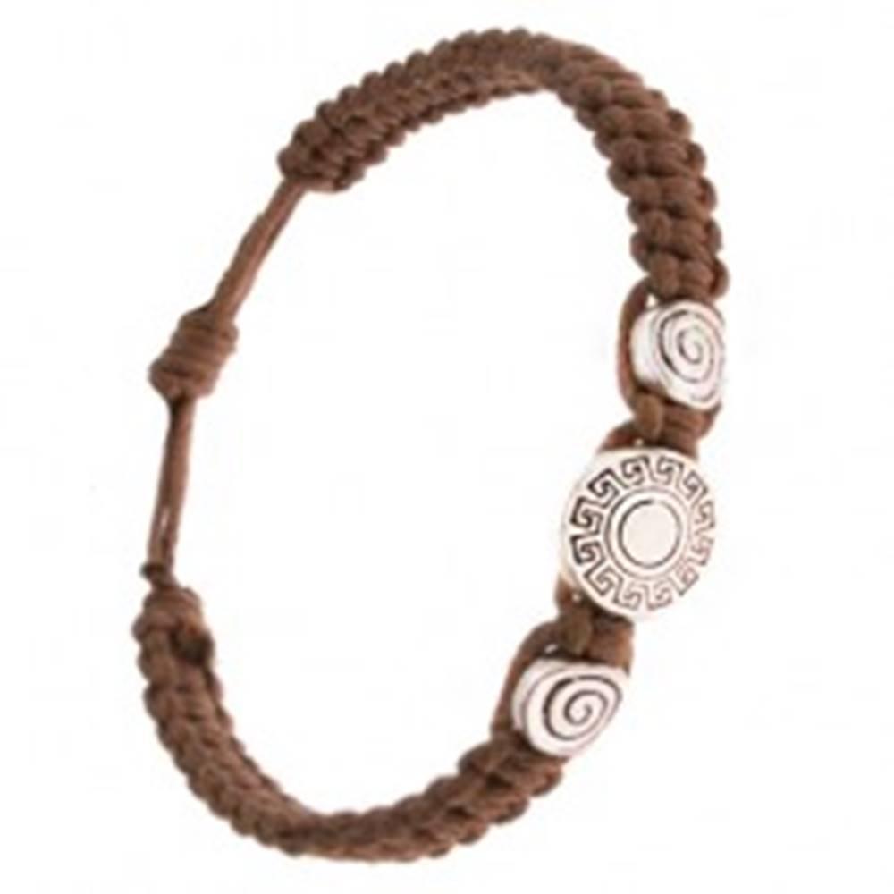 Šperky eshop Náramok zo zapletaných gaštanových šnúrok, grécky kľúč, špirála