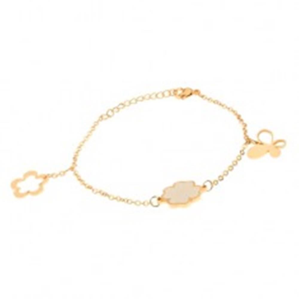 Šperky eshop Oceľový náramok na ruku zlatej farby, retiazka, motýľ, štvorlístok, kvet