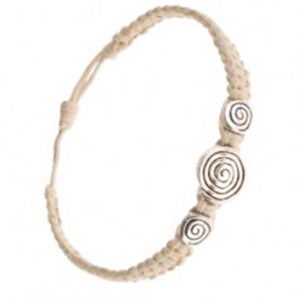 Šperky eshop Pletený náramok z béžových šnúrok, tri známky so špirálou