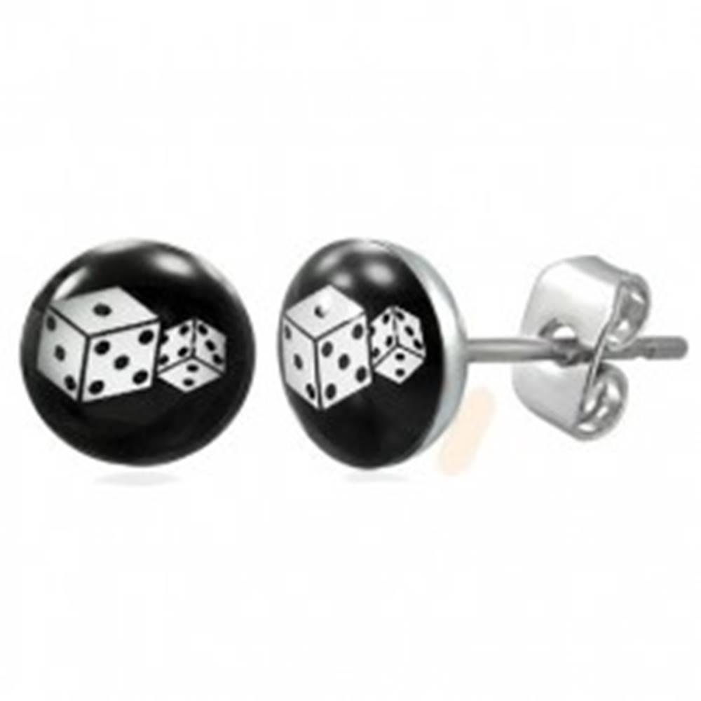 Šperky eshop Puzetové oceľové náušnice, dve biele hracie kocky