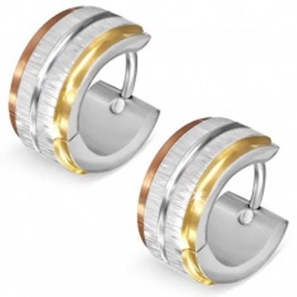 Šperky eshop Trojfarebné oceľové náušnice - saténové pásy striebornej farby, lesklá ryha