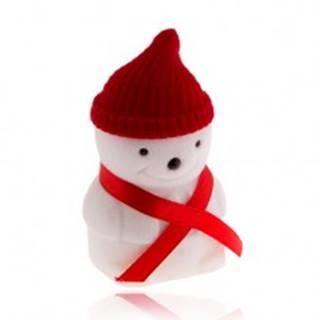 Darčeková krabička na prsteň, snehuliak s červenou čiapkou