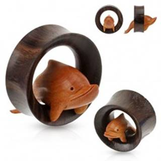 Hnedý drevený tunel do ucha, delfín skáčuci cez obruč - Hrúbka: 19 mm