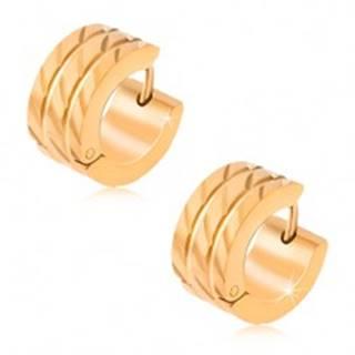 Kruhové náušnice z ocele, dve rovné ryhy, diagonálne zárezy