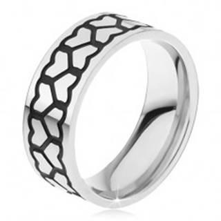 Oceľový prsteň, dve hrubšie línie kontúr súmerných sŕdc - Veľkosť: 59 mm