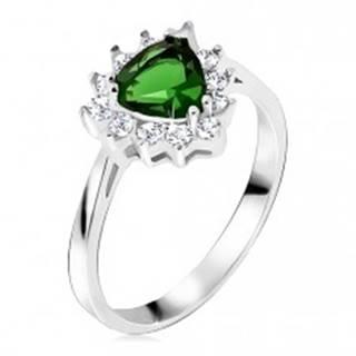 Prsteň - striebro 925, trojuholníkový zelený kamienok, číre zirkóny - Veľkosť: 47 mm