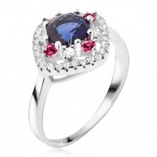 Prsteň zo striebra 925, modrý okrúhly zirkón, číre a ružové kamienky - Veľkosť: 48 mm