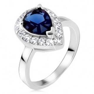 Strieborný prsteň 925, modrý slzičkový kameň so zirkónovým lemom - Veľkosť: 49 mm