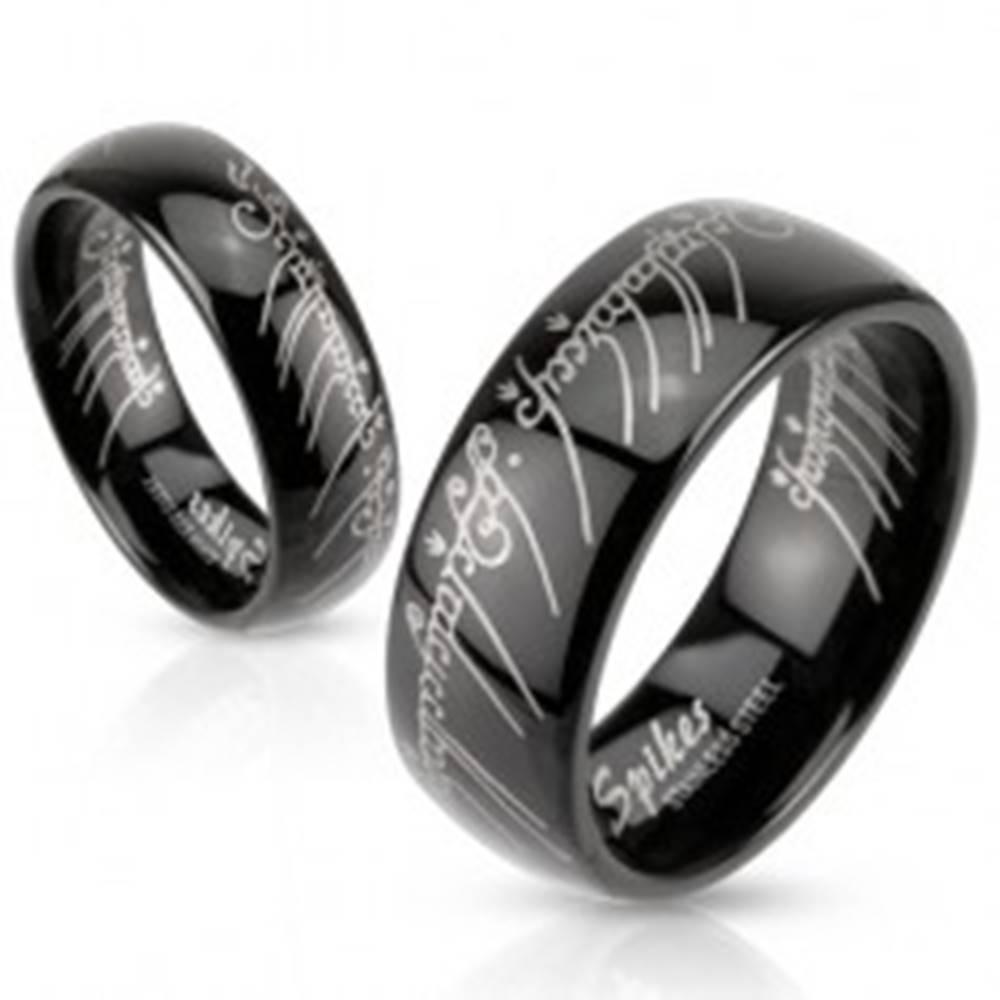 Šperky eshop Čierna oceľová obrúčka s motívom Pána prsteňov - Veľkosť: 48 mm
