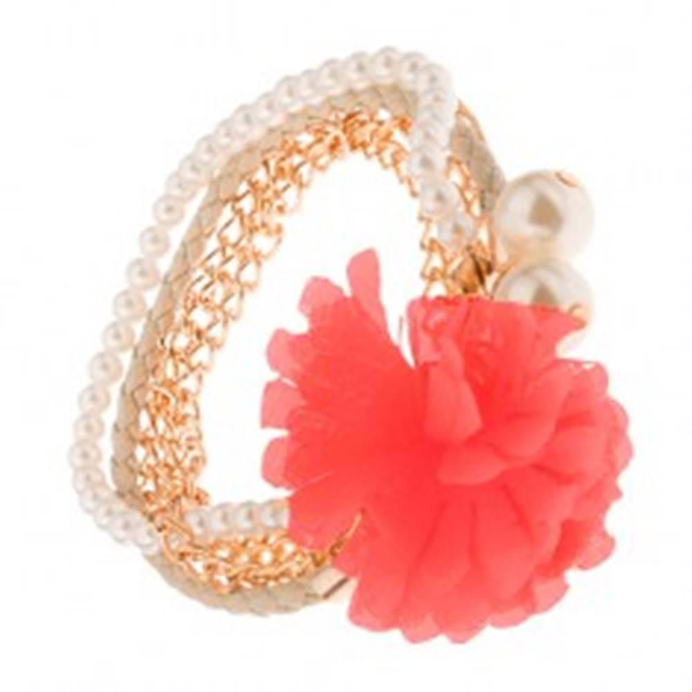 Šperky eshop Multináramok - zlaté retiazky, béžový pletenec, korálky, lososový kvet