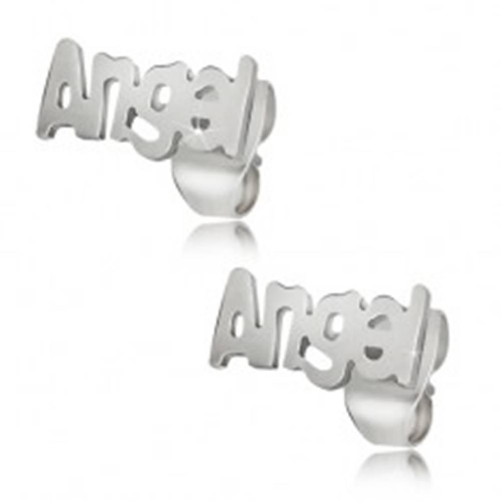 Šperky eshop Oceľové puzetové náušnice striebornej farby, Angel