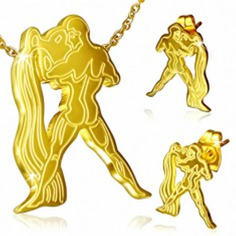 Šperky eshop Oceľový set, puzetové náušnice a prívesok zlatej farby, Vodnár