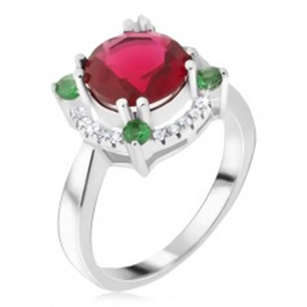 Šperky eshop Prsteň zo striebra 925, zirkónový kruh, červený kamienok - Veľkosť: 48 mm