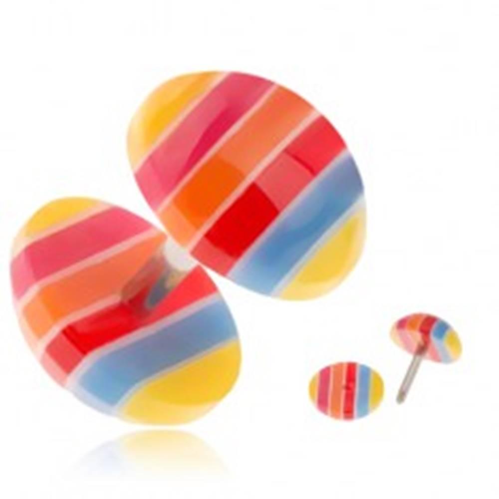 Šperky eshop Akrylový fake plug do ucha - žlté, modré, červené a oranžové pruhy