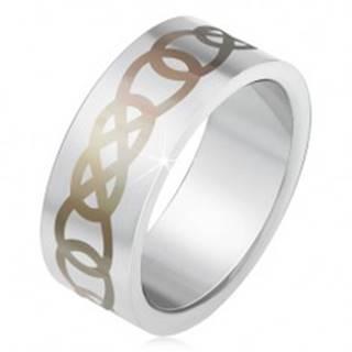 Matný oceľový prsteň striebornej farby, sivý ornament z obrysov sĺz - Veľkosť: 55 mm