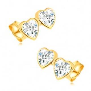 Náušnice zo žltého 14K zlata - dve súmerné srdcia zdobené zirkónmi