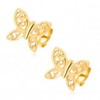 Náušnice zo žltého 14K zlata - ligotavé motýle, filigránové zdobenie