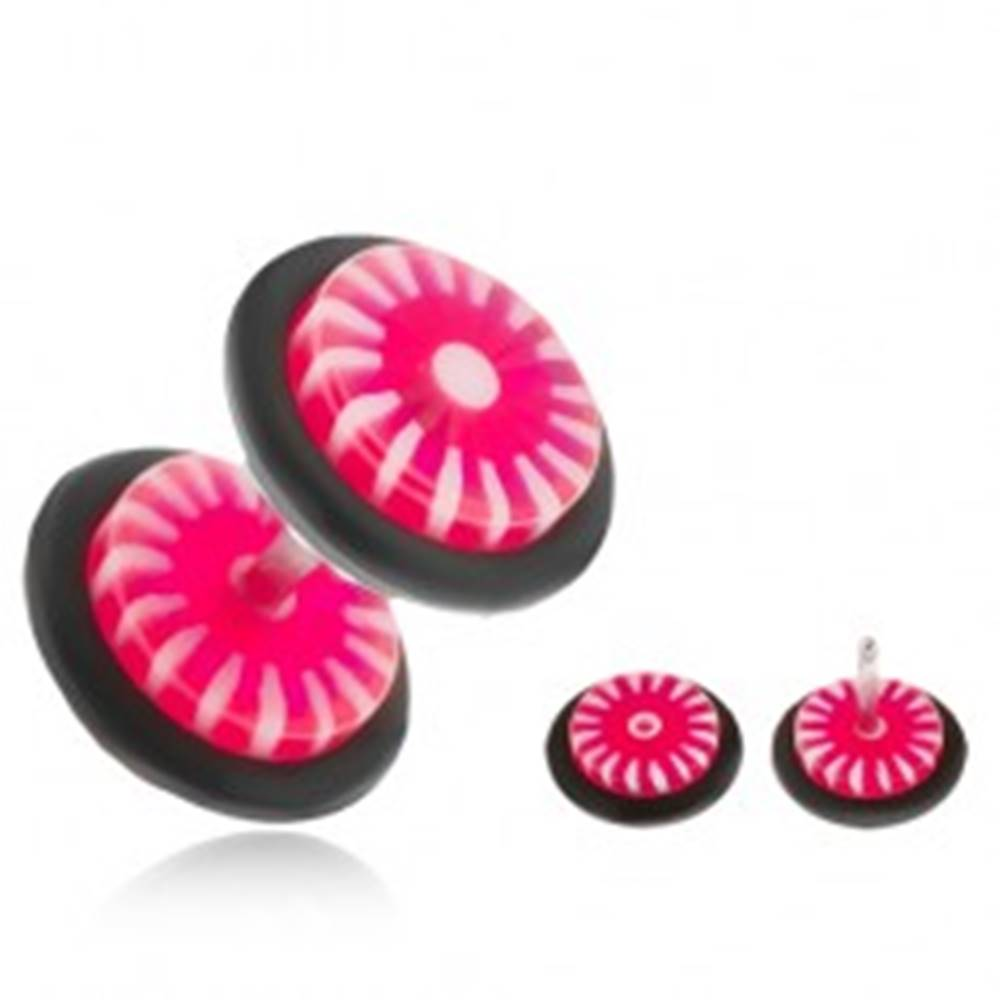Šperky eshop Fake plug do ucha - kolieska z akrylu, ružovo-biele slnko