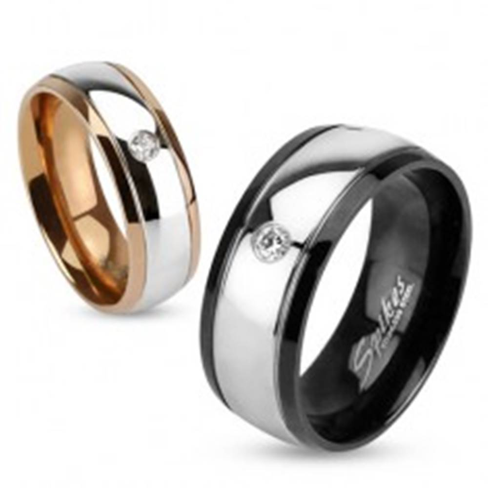 Šperky eshop Oceľová obrúčka, znížené okraje, okrúhly brúsený zirkón - Veľkosť: 49 mm