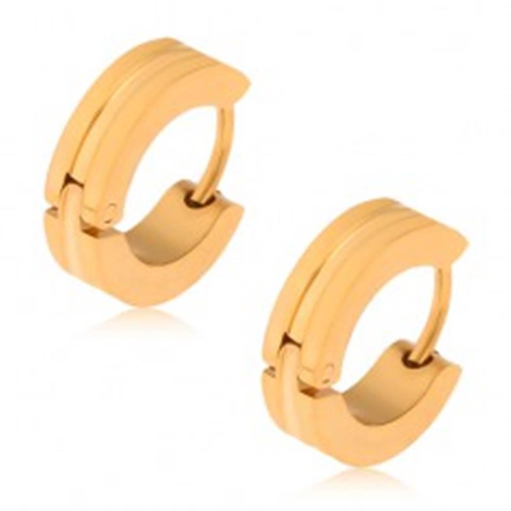 Šperky eshop Oceľové náušnice zlatej farby, kruhy so širším žliabkom uprostred