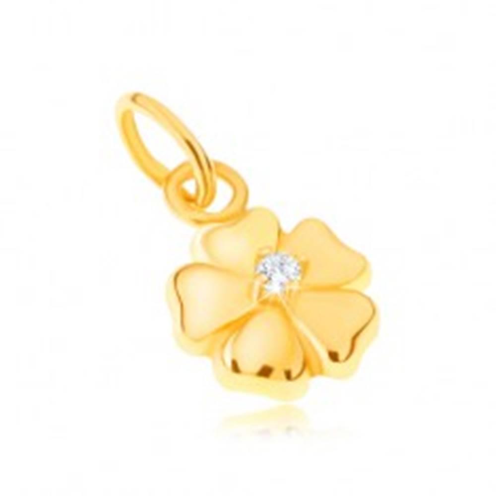Šperky eshop Prívesok zo žltého 14K zlata - ligotavý päťlupeňový kvet s kamienkom