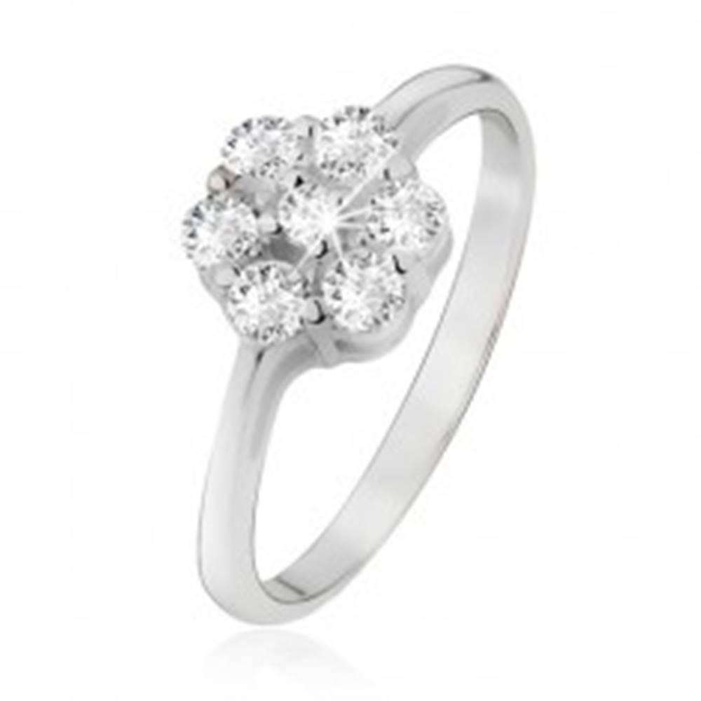 Šperky eshop Prsteň zo striebra 925, kvet z čírych okrúhlych zirkónov - Veľkosť: 49 mm