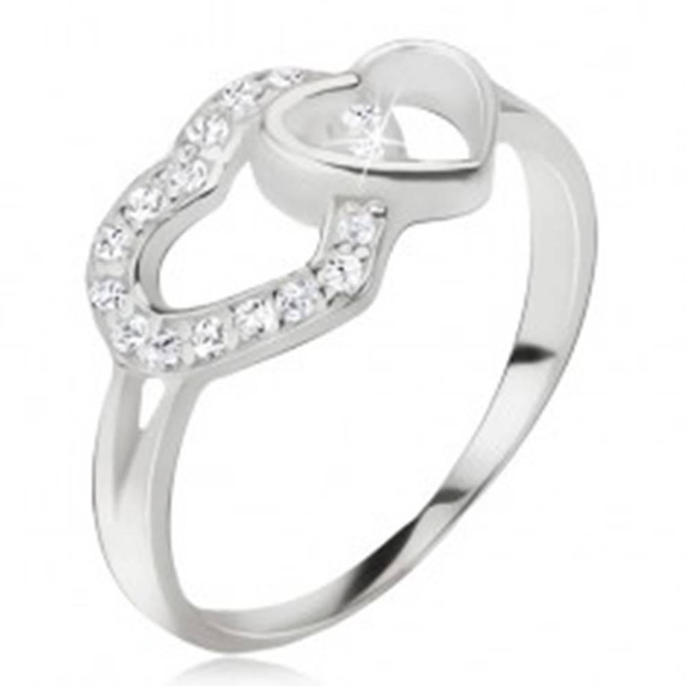 Šperky eshop Srdiečkový prsteň, zirkónová a hladká kontúra srdca, striebro 925 - Veľkosť: 49 mm