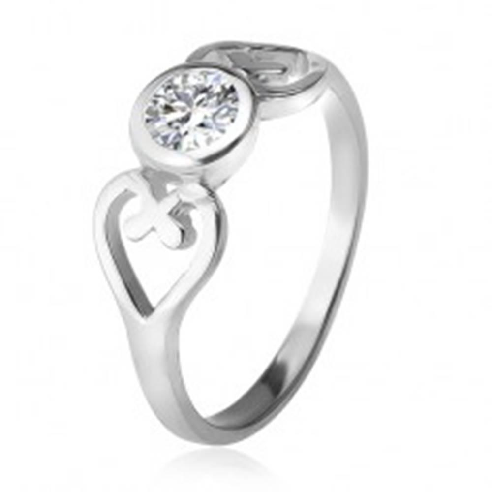 Šperky eshop Strieborný prsteň, obrysy sŕdc, číry okrúhly zirkón v objímke, striebro 925 - Veľkosť: 49 mm