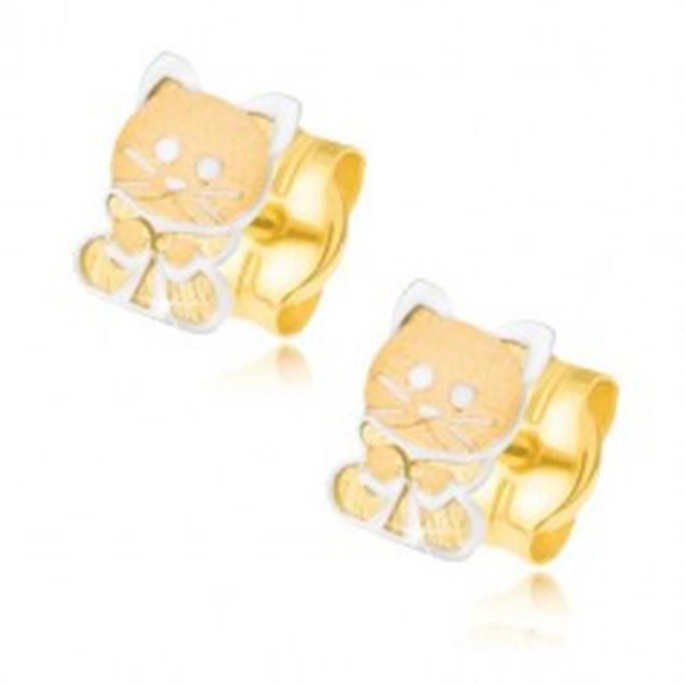 Šperky eshop Zlaté náušnice 585 - dvojfarebné mačiatko s mašličkou