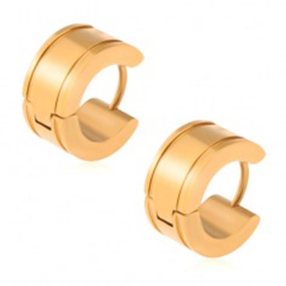 Šperky eshop Zlaté náušnice z ocele, lesklé kruhy, žliabky pri okrajoch