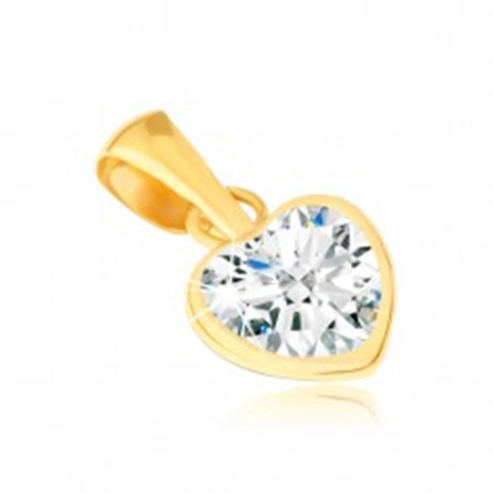 Šperky eshop Zlatý prívesok 585 - lesklá kontúra pravidelného srdca, zirkón