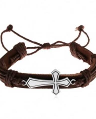 Náramok z tmavohnedej umelej kože a šnúrok, veľký lesklý kríž, patina