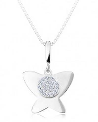 Strieborný 925 náhrdelník - lesklý plochý motýľ, malý kruh s čírymi zirkónmi