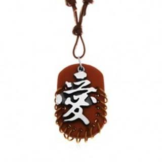 Kožený náhrdelník, prívesky - hnedý ovál s krúžkami a sivo-čierny čínsky znak