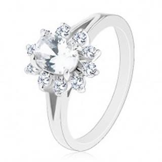 Lesklý prsteň v striebornom odtieni, zirkónový oválny kvietok čírej farby - Veľkosť: 51 mm