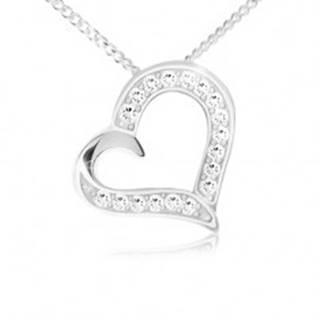 Náhrdelník - retiazka a prívesok obrysu srdca, číre zirkóny, striebro 925