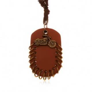 Náhrdelník z umelej kože, prívesky - hnedý ovál s krúžkami a motorka