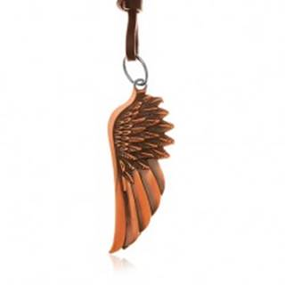 Náhrdelník zo syntetickej kože, prívesok - anjelské krídlo medenej farby