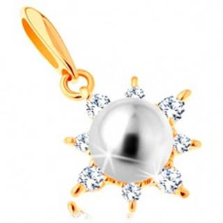Prívesok zo žltého 14K zlata - ligotavé slnko, guľatá perla bielej farby