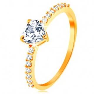 Prsteň v žltom 14K zlate - brúsené zirkónové srdiečko čírej farby - Veľkosť: 49 mm