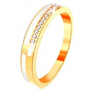 Prsteň v žltom 14K zlate - úzke línie z čírych zirkónikov a bielej glazúry - Veľkosť: 49 mm