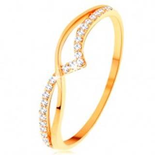 Prsteň zo žltého 14K zlata - hladká a trblietavá vlnka z čírych zirkónikov - Veľkosť: 49 mm