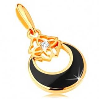 Zlatý prívesok 585 - kruh s výrezom a čiernou glazúrou, ornament, zirkón