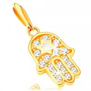 Zlatý prívesok 585 - symbol Hamsa s čírymi zirkónmi a bielou hviezdou