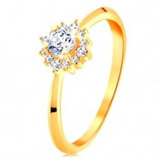 Zlatý prsteň 585 - ligotavý kvietok z čírych zirkónov, tenké lesklé ramená - Veľkosť: 49 mm
