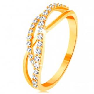 Zlatý prsteň 585 - prepletené vlnky - jedna hladká a dve zirkónové - Veľkosť: 49 mm
