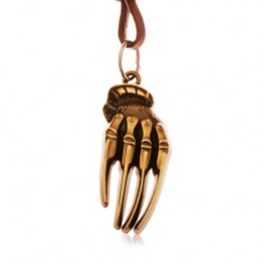 Šperky eshop Hnedý náhrdelník z umelej kože, patinovaná ruka kostry mosadznej farby
