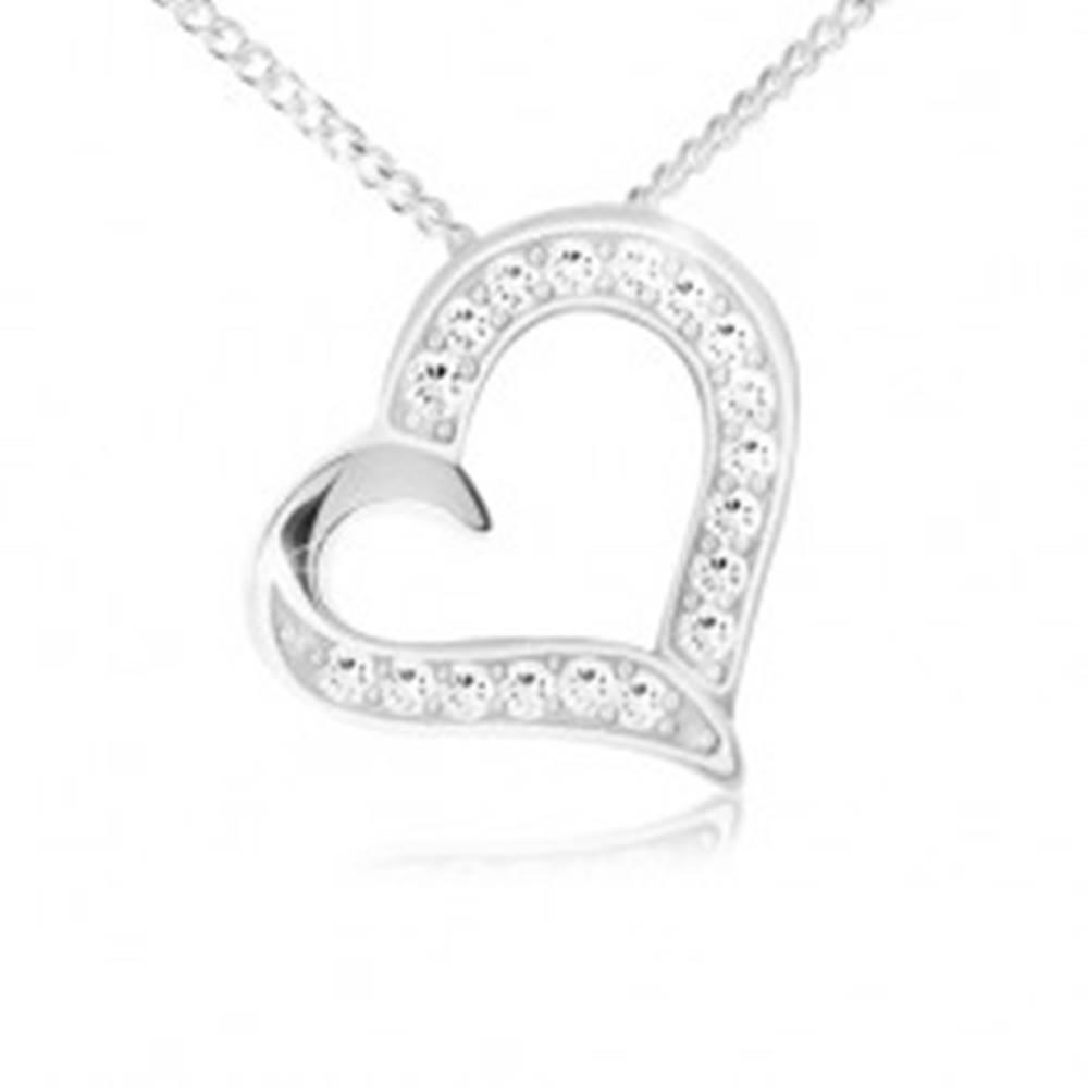 Šperky eshop Náhrdelník - retiazka a prívesok obrysu srdca, číre zirkóny, striebro 925