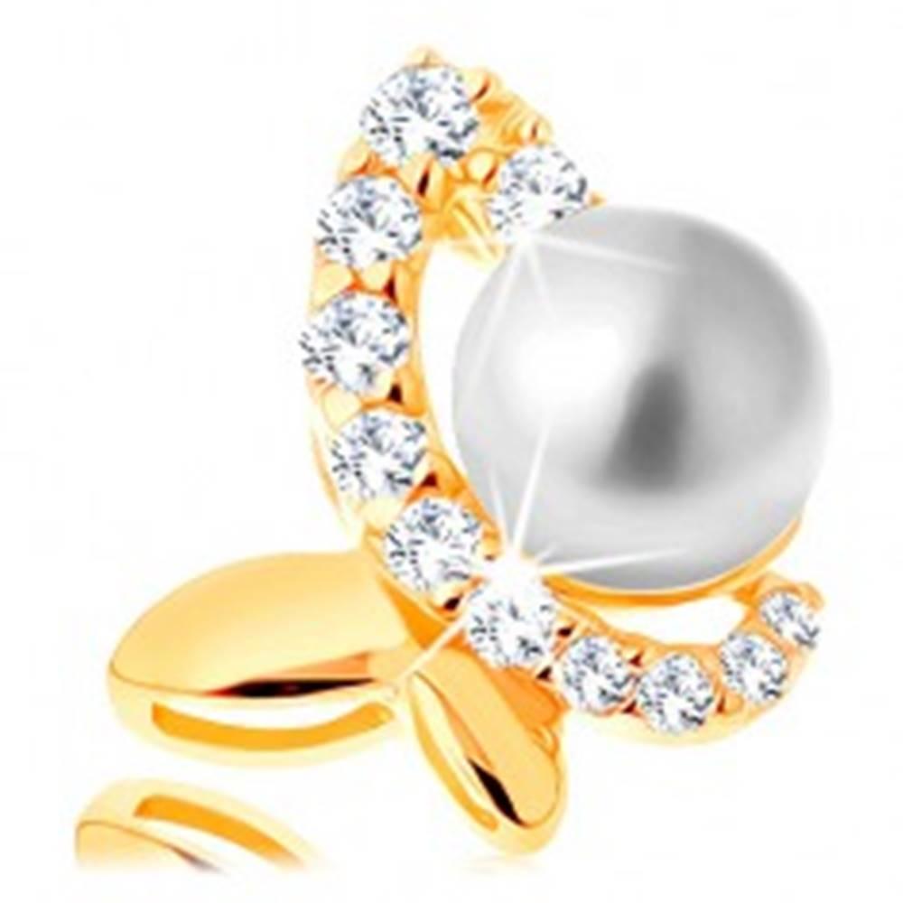 Šperky eshop Prívesok v žltom 14K zlate - nesúmerný motýľ so zirkónovou polovicou a perlou